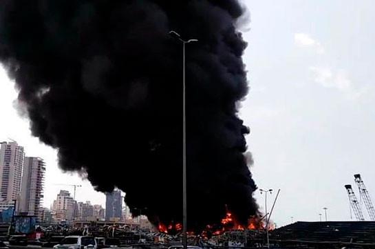 Big fire at Beirut port rattles residents a month after huge explosion