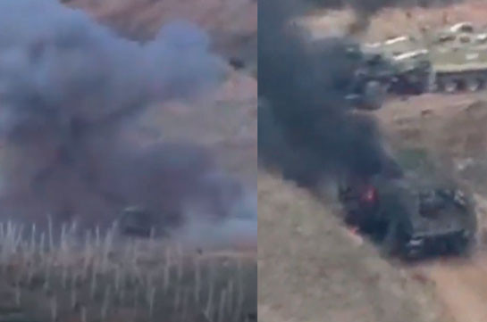 Armenian Armed Forces keep on hitting Azerbaijani armored vehicles (video)