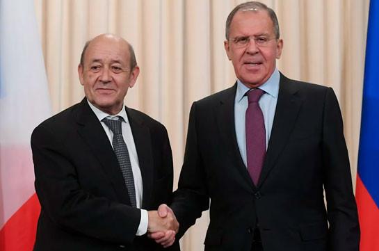 Лавров с главой МИД Франции обсудил ситуацию в зоне нагорно-карабахского конфликта