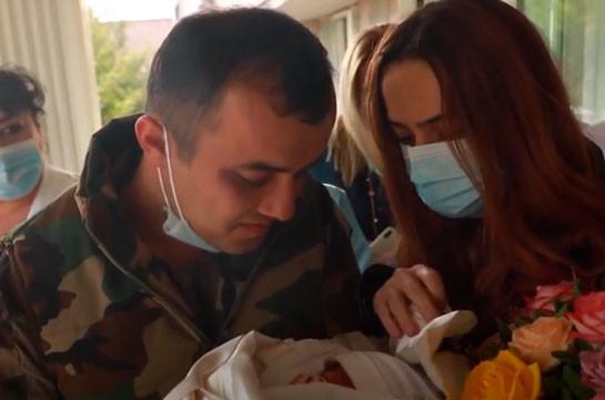 Ռազմաճակատից վերադարձած հոր ու նորածին դստեր առաջին հանդիպումը (Տեսանյութ)