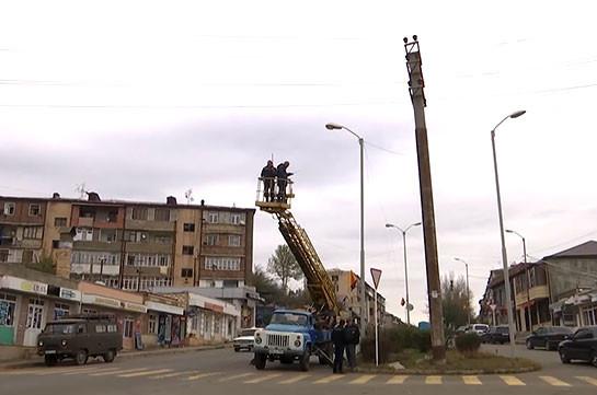 Восстановление электроснабжения в Степанакерте (Видео)