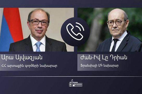 Глава МИД Армении провел телефонный разговор с министром иностранных дел Франции