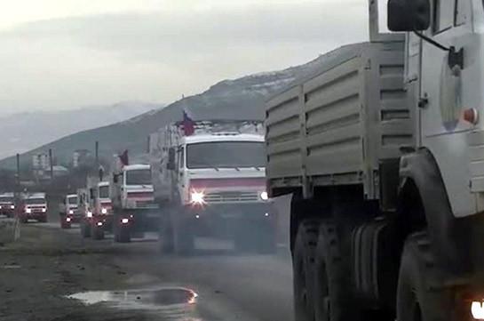 Ռուս խաղաղապահները մարդասիրական օգնությամբ չորրորդ ավտոշարասյունն ուղեկցել են Լեռնային Ղարաբաղի տարածքով