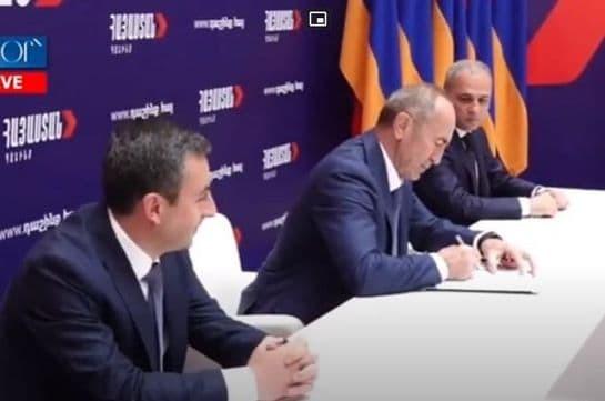 Ստորագրվեց «Հայաստան» դաշինքի համագործակցության հռչակագիրը (Տեսանյութ)