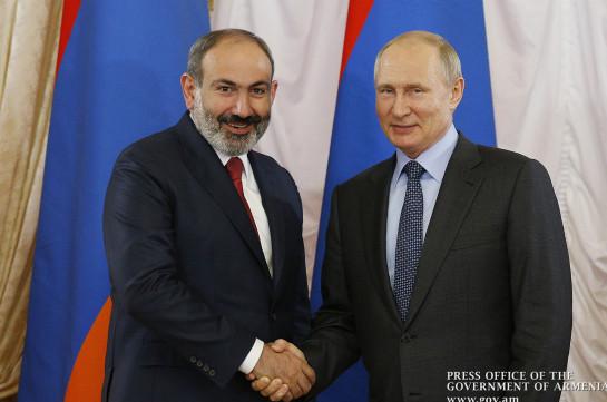 Путин поздравил Пашиняна с назначением премьером Армении