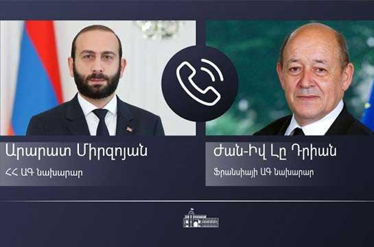 Տեղի է ունեցել Հայաստանի և Ֆրանսիայի արտաքին գործերի նախարարների հեռախոսազրույցը. Արցախի հարցն է քննարկվել