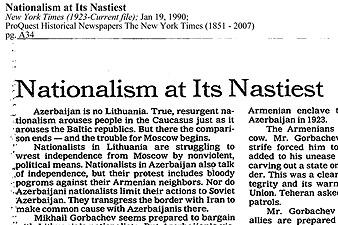 New York Times. Ադրբեջանի ազգայնականության զազրելի դիմագիծը